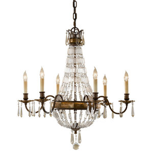 6-Light Chandelier, Oxidized Bronze, British Bronze