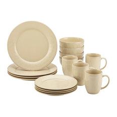 Cucina Dinnerware 16-Piece Stoneware Dinnerware Set, Almond Cream