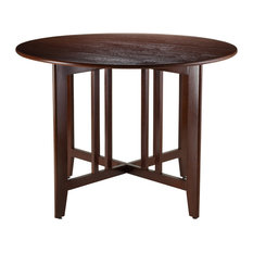 "Winsome Alamo 42"" Round Double Drop Leaf Dining Table in Walnut"