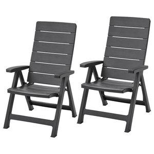 Allibert Reclining Garden Chairs Brasilia, Set of 2, Graphite