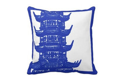 Navy and White Pagoda Pillow