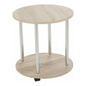 Modern Round Side Table, Oak Effect MDF With Lower Shelf and Casters Wheels