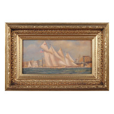 Ships Sailing by Bridge Scene Oil Painting