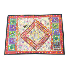 Mogulinterior - Indian Hand Embroidered Colorful Wall Hanging Patchwork Sari - Tapestries