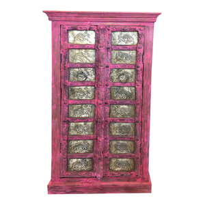 Mogul Interior - Consigned Antique Almirah Pink Jaipuri Brass Camel Carved Wardrobe Cabinet - Armoires And Wardrobes