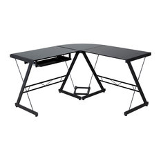 comfort products onespace ultramodern glass lshape desk black desks and hutches