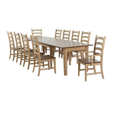 Sunset Trading 11 Piece Brook Rectangular Extendable Dining Set | Arm Chairs