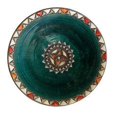 Moroccan Metal and Bone Inlay Ceramic Plate, Green