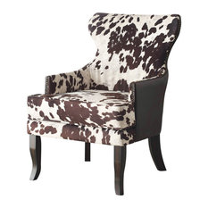 Faux Cowhide Fabric Accent Chair With Stud Detail, Brown