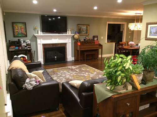 Please help declutter/redeisgn my L Shaped Living Room/Dining Room!