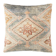 """Gray/Multi 22""""x22"""" Antique Inspired Woven Flannel Printed Accent Pillow, No Fill"""