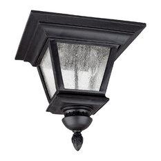 Black Brookwood 3-Light Energy Star Outdoor Flush Mount Ceiling Fixture