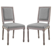 Court Dining Side Chair Upholstered Fabric Set of 2, Light Gray