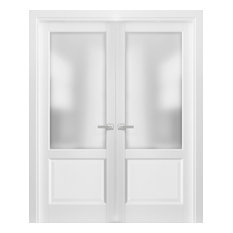 French Double Panel Lite Doors 48 x 80 & Hardware | Lucia 22 Matte White & Glass
