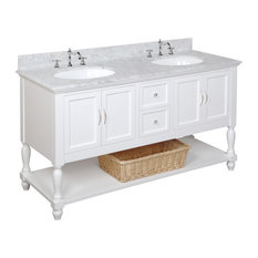 "Beverly 60"" Bath Vanity, Base: White, Top: Carrara Marble, Double Vanity"