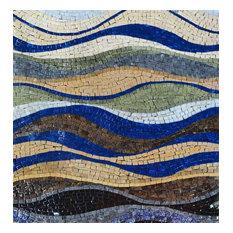 "Mozaico - Stone Mosaic Design, Catch The Wave, 35""x35"" - Tile Murals"