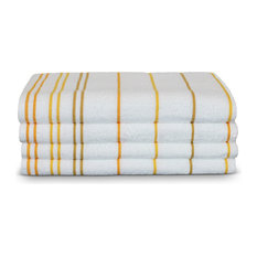 Towel Turkish Cotton Pool Beach Towels, Yellow Gold, Striped, Set of 4
