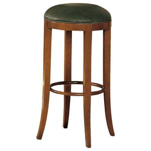 Green Leather Bar Stool, Tall