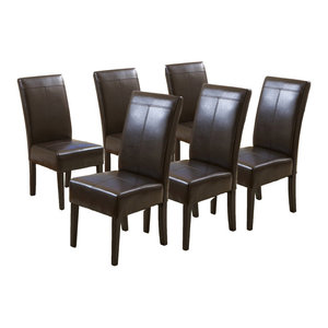 GDF Studio Percival T-Stitched Chocolate Brown Leather Dining Chairs, Set of 6