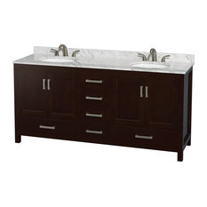 "Sheffield 72"" Espresso Double Vanity, Carrera Marble Top, Undermount Oval Sink"