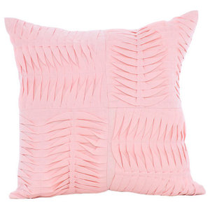 Textured Pintucks 30x30 Cotton Linen Pink Throw Cushions Cover, Pcm Of Love