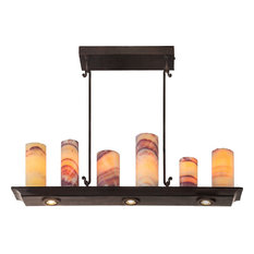 Alma Chandelier With Led Downlights, Bronze Finish