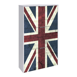 Ricco 3 Door Patterned Shoe Rack, Union Jack