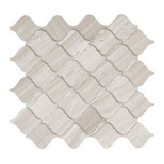 Lovisa Mosaic Wall and Floor Tile, Wooden White Marble, Set of 10
