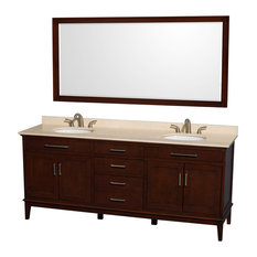 "Hatton 80"" Dark Chestnut Double Vanity With Ivory Marble Top and Oval Sink"