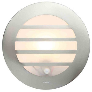 Stanley Azure Outdoor Circular Wall or Ceiling Light With PIR Sensor, Steel