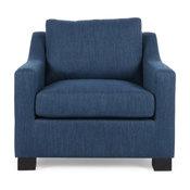 Casen Fabric Club Chair, Navy Blue, Dark Brown