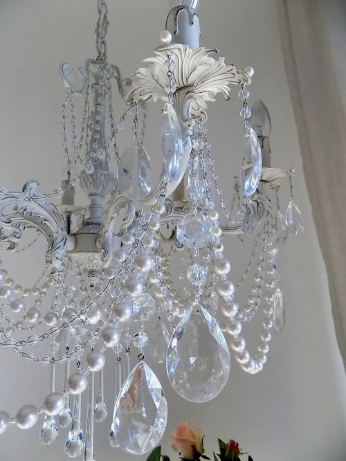 shabby chic italian vintage brass crystal chandelier, ivory with, Lighting ideas