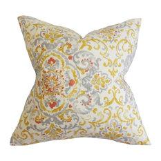 "Halcyon Floral Pillow Gray Yellow 20""x20"""