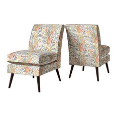 Gehlfuss Armless Chairs Set Of 2 Multi Coral Paisley