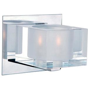 One Light Polished Chrome Clear Glass Bathroom Sconce