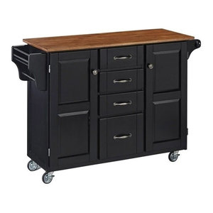 Hawthorne Collections Kitchen Cart With Oak Top, Black Hawthorne Collections