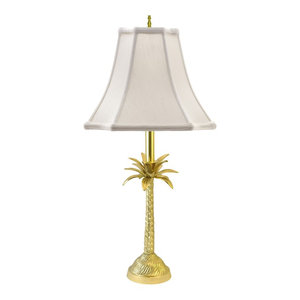 Palm Tree Table Lamp, Polished Brass With Off-White Shade