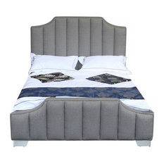 Camelot Contemporary Queen Bed With Polished Stainless Steel and Gray Fabric