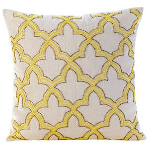 Lattice Trellis Yellow Shams, Cotton Linen 60x60 Pillow Sham, Yellow Sunset Taj