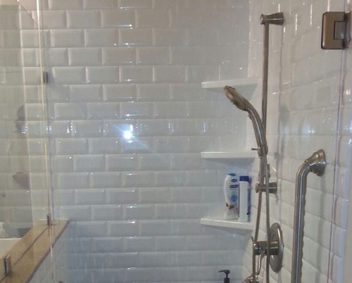White Onyx Subway Tile From The Collection Floor Is Going To Be Futuro Porcelain Tiles Fixtures Are Original Chrome With