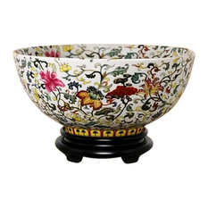 """Chinese Multi Color Floral Motif Porcelain Bowl With Base 14"""""""