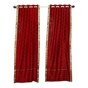 Red Ring Top  Sheer Sari Curtain / Drape / Panel   - 60W x 63L - Piece