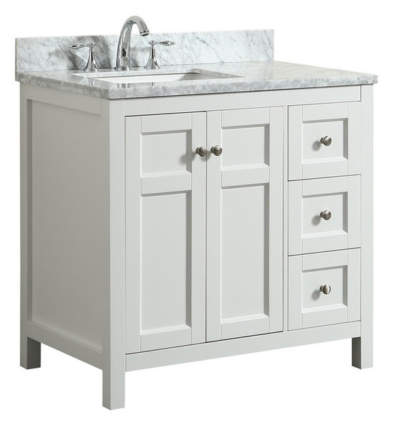 Adley White Bathroom Vanity With Marble Top 36