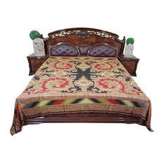 Mogul Interior - Mogul Moroccan Bedding, Pashmina Wool Blanket Throw, Red Black Paisley - Blankets