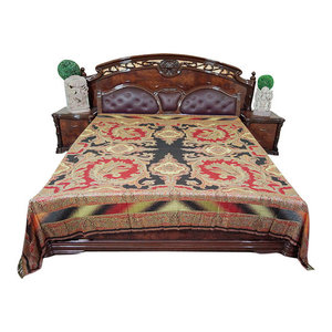 Mogul Interior - Mogul Moroccan Bedding, Pashmina Wool Blanket Throw, Red Black Paisley - Throws