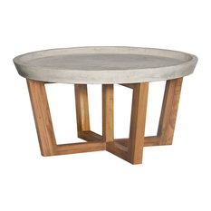 Transitional Round Concrete Cocktail Table In Euro Teak Oil Finish 7117533ET