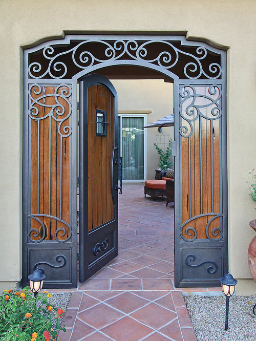 Custom Swirl Iron and Wood Gate by First Impression Security Doors - Home Fencing And Gates & Custom Iron Gates by First Impression Security Doors pezcame.com