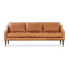 Brando Leather and Fabric Sofa, Russet