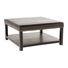GDF Studio Kelapith Leather Ottoman Brown Bench With Rack