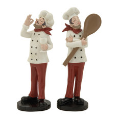 Eclectic Polystone Chef Figurines, 2-Piece Set
